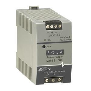 Sola Hevi-Duty SDP5-5-100T Power Supply, 5A, 1P, 85-264VAC Input, 5-6VDC Output