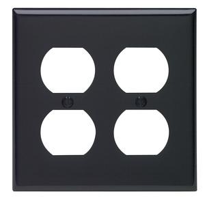 Leviton 80716-E Duplex Receptacle Wallplate, 2-Gang, Nylon, Black
