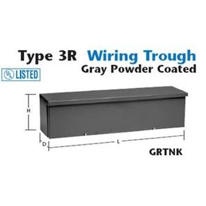 "Unity 8836GRTNK Wiring Trough, Type 3R, Slip-On Cover, 8"" x 8"" x 36"", Steel, Gray"