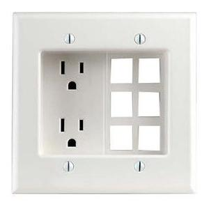 Leviton 690-W 2-Gang Recessed 6-Quickport Plate and Duplex Receptacle, 15 Amp