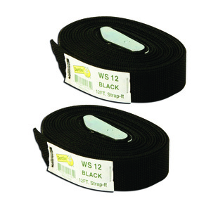 Dottie 2WS12 12' Web Straps w/ Buckle, Nylon - Black, 2 Included