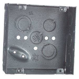 "Bowers 5-SDW-3/4 4-11/16"" Square Box, Welded, 2-1/8"" Deep, 3/4 & 1/2"" KOs, Steel *** Discontinued ***"