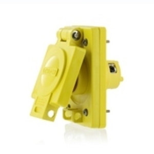 Leviton 59W47 15 Amp Single Inlet Receptacle, 125V, 5-15R, Yellow, Wetguard