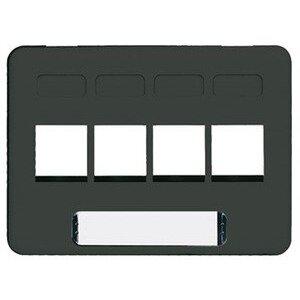 ICC IC107FN4BK Faceplate, 4 Port, Snap-In, Modular Furniture, Black