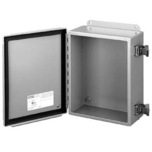 """nVent Hoffman A1008CHQR Junction Box, NEMA 12, Hinged Cover, 10"""" x 8"""" x 4"""", Steel"""