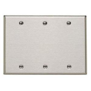 Leviton 84033-40 Blank Wallplate, 3-Gang, 302 Stainless Steel, Standard, Box Mnt