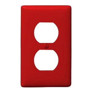 Hubbell-Bryant NP8R Duplex Receptacle Wallplate, 1-Gang, Nylon, Red