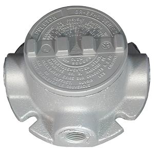 "Appleton GRFT75 Conduit Outlet Box, Type GRFT (3) 3/4"" Hubs, Malleable Iron"