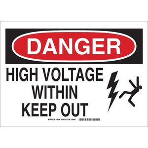 "Brady 19935 Sign, DANGER, 10"" x 14"", Indoor/Outdoor"