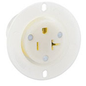 Leviton 15379-C 20 Amp Flanged Outlet, 125V, 5-20R, Nylon, White