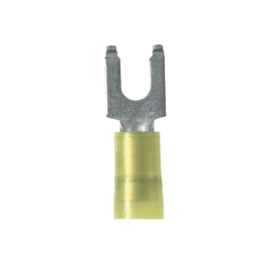 Panduit PN10-8FF-L Fork Terminal, Flanged, Nylon Insulated, 12 - 10 AWG, Stud: #8