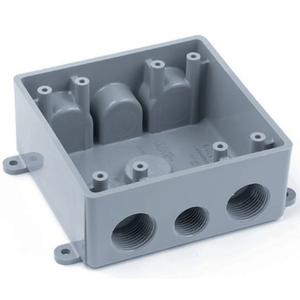 "Carlon E382DE Weatherproof Box, 2-Gang, 1/2"" & 3/4"" Hubs, Non-Metallic"
