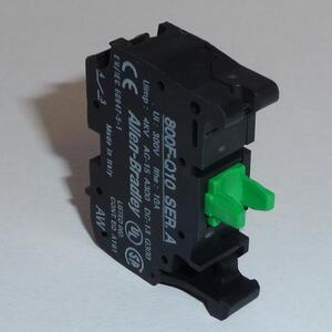 Allen-Bradley 800F-Q10 Contact Block, Plastic, Spring Clamp, 1NO Contact, 22.5mm