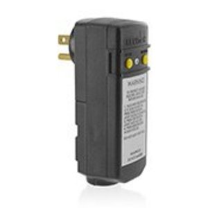 Leviton 16693-1 Right Angle GFCI Plug, 15A, 120V, Automatic Reset, Grounded, Black, Clamshell Packaging