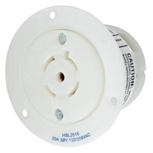 Hubbell-Wiring Kellems HBL2516 LKG FLG-RCPT 20A 120/208V L21-20R WH