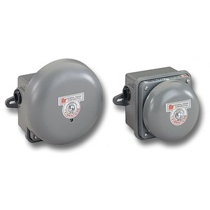 "Federal Signal 504WB-120 Vibrating Bell, Heavy Duty, Gong: 4"", 120VAC, Steel/Gray Powder Coat"