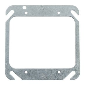 "Steel City 52-C-00 4"" Square Cover, 2-Device, Mud Ring, Flat, Drawn, Metallic"