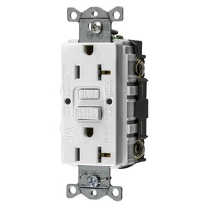 Hubbell-Wiring Kellems GFWRST20W Weather Resistant GFCI Receptacle, Self-Test, 20A, White