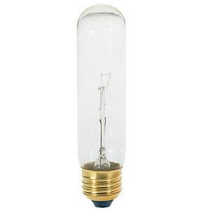 Satco S3252-TF Incandescent Lamp, 40 Watt, T10, Clear, 120 Volt, Coated