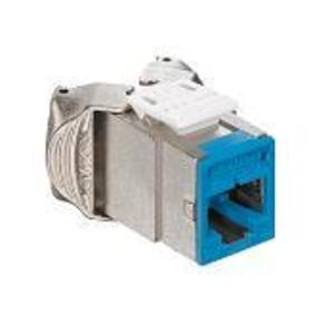 Leviton 6ASJK-RL6 Atlas-X1 Cat 6A Shielded QuickPort Connector, Component-Rated, Blue