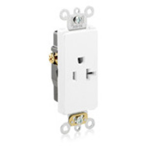 Leviton 16351-W 20A Decora Single Receptacle, 125V, 5-20R, White, Side Wired, Hvy Duty