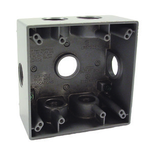 "Hubbell-Raco 5346-0 Weatherproof Outlet Box, 2-Gang, Depth: 2"", Die Cast"