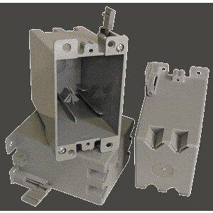 """Cantex EZ21SO Switch/Outlet Box, 1-Gang, Depth: 3-5/8"""", Brackets, Non-Metallic"""