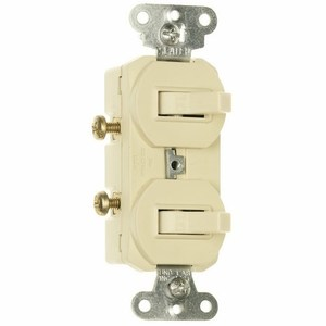Pass & Seymour 690-IG Switch Combo, (2) 1-Pole, 15A, Ivory