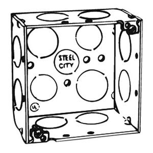 "Steel City 52171-3/4 4"" Square Box, Welded, Metallic, 2-1/8"" Deep"