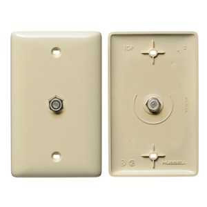 Hubbell-Premise NS750I Wall Plate, Coax/F Connector, 2.4 GHZ, 1-Gang, Ivory, Standard
