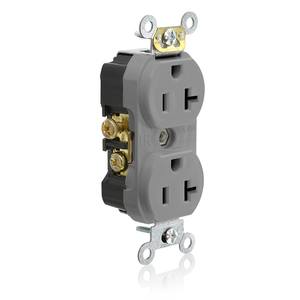 Leviton TCR20-GY Tamper Resistant Duplex Receptacle, 20A, 125V, Gray