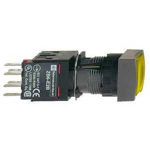 Square D XB6CF5B1B Push Button, Square, Illuminated, Flush, Maintained, Yellow, 16mm