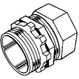 "Hubbell-Raco 2804 EMT Compression Connector, 1"", Zinc Die Cast, Concrete Tight"
