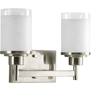Progress Lighting P2977-09 Bath Light, 2 Light, 100W, Brushed Nickel
