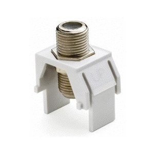 ON-Q WP3479-WH-10 Non-Recessed Nickel F-Connector, White, 10-Pack