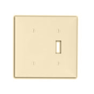 Leviton 80706-I Combo Wallplate, 2-Gang, Toggle/Blank, Nylon, Ivory, Standard