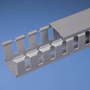 Panduit NNC50X100LG2 Halogen Free Wiring Duct, Slotted, 50 mm W x 100 mm H x 2m Long, PVC, Gray