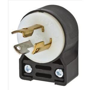 Hubbell-Kellems HBL4720CA Lkg Ang Plug, 15a 125v, L5-15p, B/w