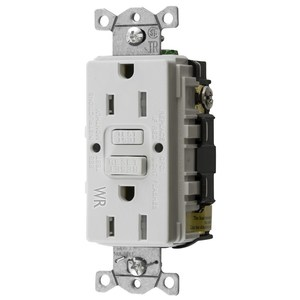 Hubbell-Bryant GFTWRST15W Ground Fault Receptacle, 15A, 125V, White/Almond