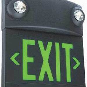 Hubbell-Dual-Lite LXUGB Sign Exit Plstic LED Uni Grn Blk Ac Wht