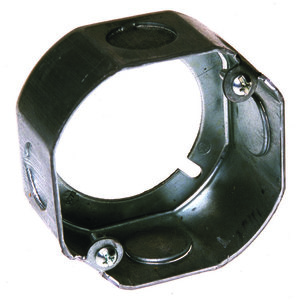 "Hubbell-Raco 111 3-1/2"" Octagon Box Extension Ring, 1-1/2"" Deep, 1/2"" Kos, Steel"