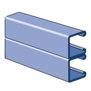 "Unistrut P1001A-10HG Unistrut, Side to Side, No Holes, 1-5/8"" x 3-1/4"" x 10', Hot Dip Galv"