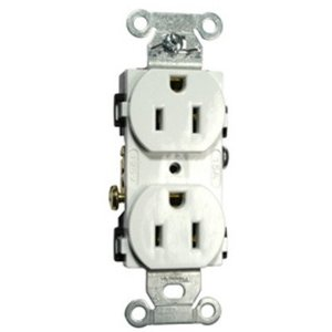 Hubbell-Kellems BR15WHI Duplex Receptacle, 15A, 125V, White