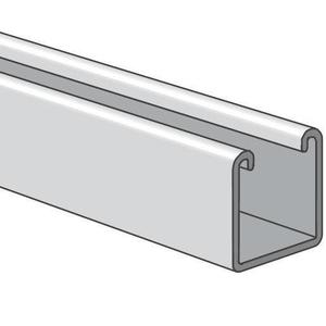 "Power-Strut PS200-20PG Channel - No Holes, Steel, Pre-Galvanized, 1-5/8"" x 1-5/8"" x 20'"
