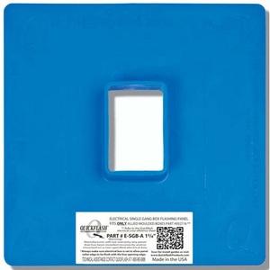 "Quickflash E-SGB-A-1-3/8 Flashing Panel, 1-Gang, Size: 11 x 11"", Blue, Non-Metallic"