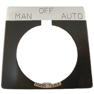 Eaton 10250TS68 30mm, Legend Plate, MAN.-OFF-AUTO, Black Field, Square