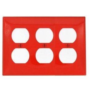 Leviton 80730-R Duplex Receptacle Wallplate, 3-Gang, Nylon, Red