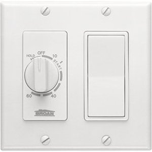 Broan 63W 60 Minute Time Control with one rocker switch. Fits 2-gang box.
