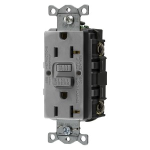 Hubbell-Wiring Kellems GFRST20GY GFCI Receptacle, 20A, 125V, Self-Test, Gray