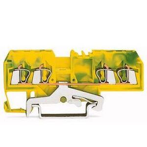Wago 51162260 Terminal Block, Grounding, 5mm, Green/Yellow, 4 Conductor